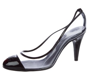 Chanel Interlocking Cc Logo Cap-toe Pvc Patent Leather Black, Clear Pumps