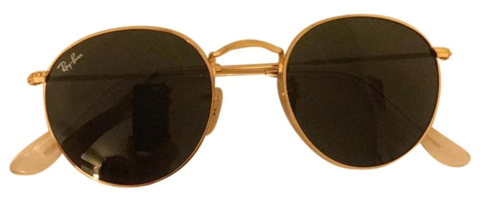 b82c3c6fa5 Ray-Ban Gold Frame with Classic Green Lens Round Metal Rb3447 001 50-21  Sunglasses