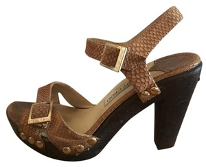 Jimmy Choo Studded Wood neutral and snakeskin Sandals
