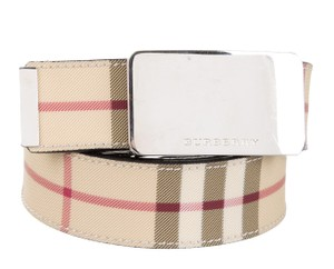 Burberry Beige, red multicolor Nova check print Burberry waist belt M