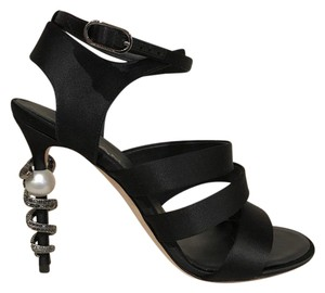 Chanel Satin Sandal Snake Crystal Stiletto black Pumps