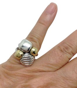 David Yurman size 7, sterling silver, 18k yellow gold, chiclet statement ring