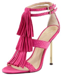 B Brian Atwood Fringe Strappy Pink Sandals