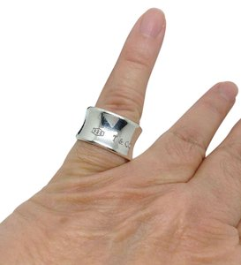 Tiffany & Co. size 7, sterling silver, 1837 concave, wide band ring