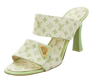 Louis Vuitton Logo Embroidered Strappy Lv Monogram Gold Hardware Lime Green Sandals