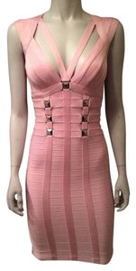 Hervé Leger Bandage Stretch Rosie Knot Alabaster Dress