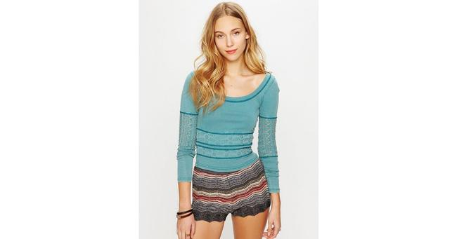 Free People We The Eyeley Girlie Greaser Top BLUE Image 1