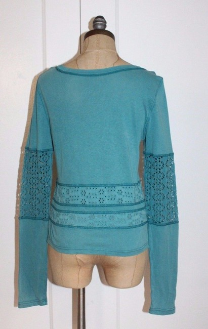 Free People We The Eyeley Girlie Greaser Top BLUE Image 4