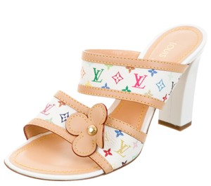 Louis Vuitton Logo Embroidered Strappy Lv Monogram Gold Hardware Yellow, Multicolor Sandals