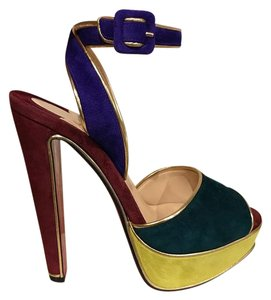 Christian Louboutin Platform Ankle Strap Stiletto Ankle multicolor Pumps