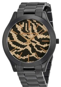 Michael Kors MICHAEL KORS Slim Runway Rose Gold-Tone Pave With Zebra Pattern Women's Watch