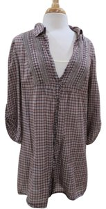 Joie Tunic Plaid Dress Shift Shirred Top Brown