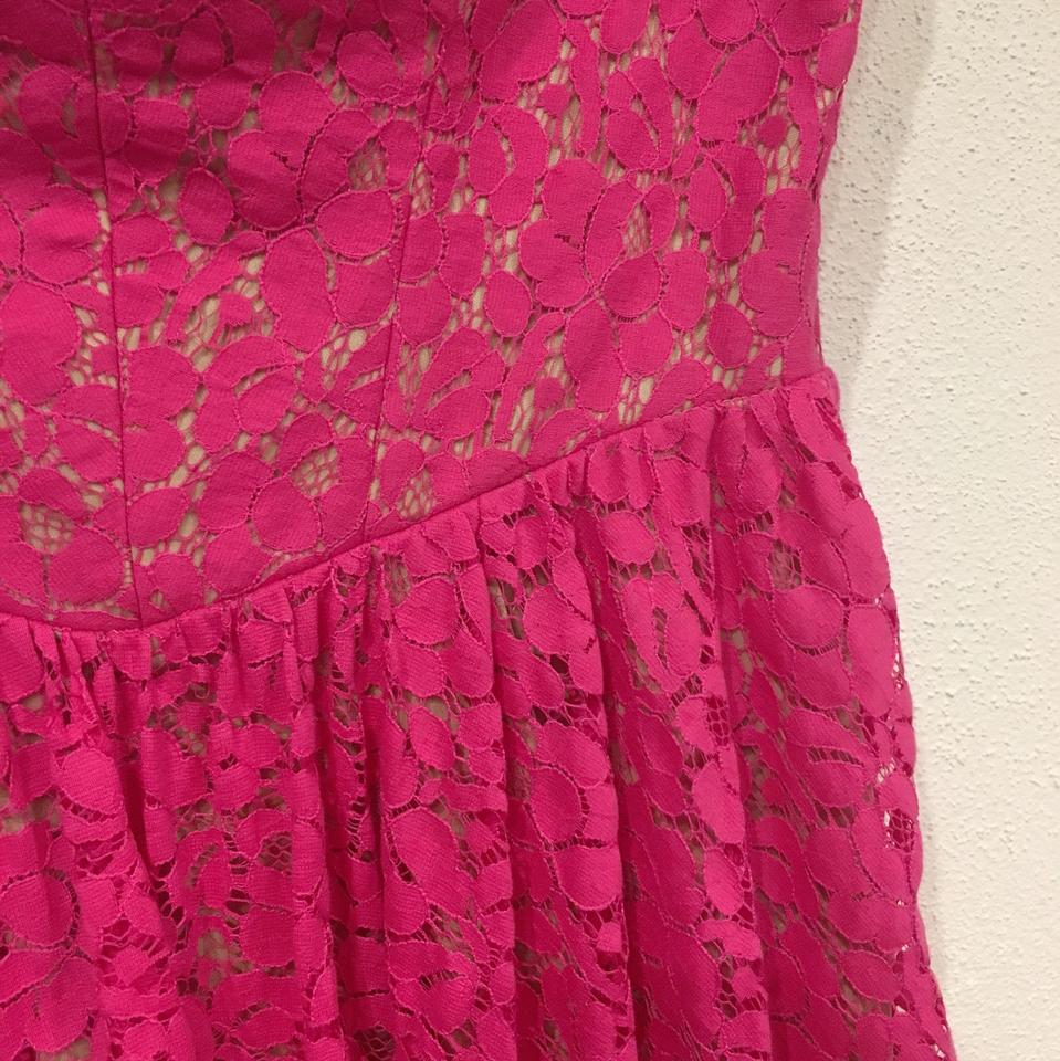 Betsey Johnson Pink Cream Strapless Lace Mid-length Cocktail Dress ...