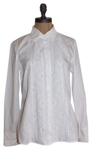 Charter Club Embroidered Summer Charter Button Down Shirt WHITE