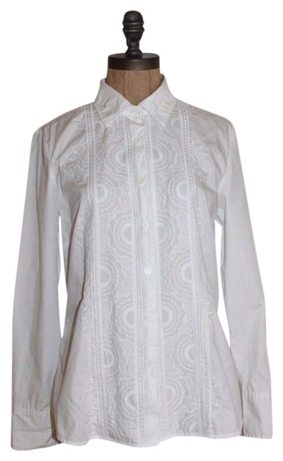 Charter Club White Embroidered Shirt Button-down Top Size Petite 10 (M) Charter Club White Embroidered Shirt Button-down Top Size Petite 10 (M) Image 1