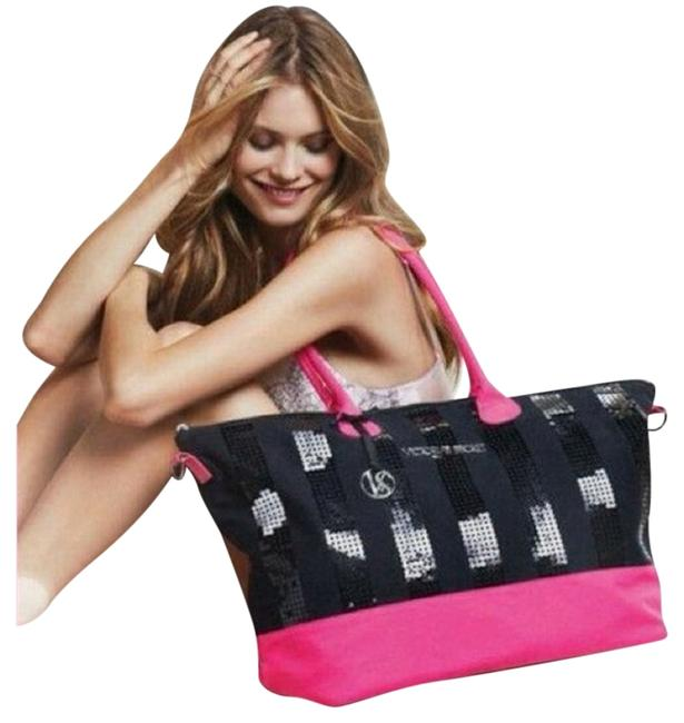 Item - Sequined and Weekender Black/Pink Cotton Tote