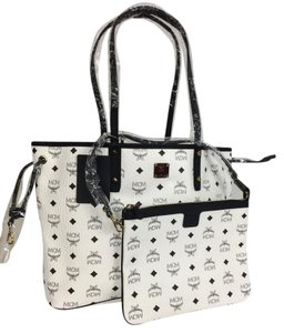 MCM Leather Tote in White