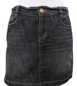 DKNY Denim Mini Zipper Pockets Jeans Mini Skirt Blue