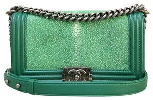 Chanel Medium Galuchat Le Boy Green Shoulder Bag