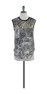 Helmut Lang White & Black Abstract Print Top