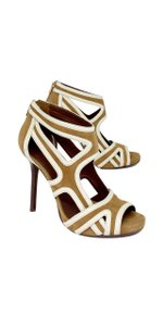 Tory Burch Brown Suede Cutout Heels Tan/White Sandals