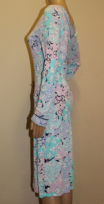 Emilio Pucci Multicolor Viscose Print Floral Abstract V-neck Longsleeve Dress