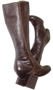 B.O.C. Leather Round Toe Side Zipper Brown Boots