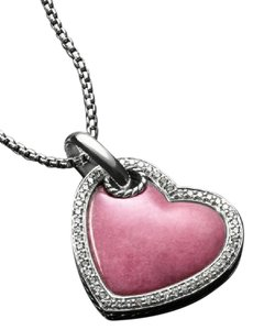 "David Yurman Pink Rhodonite, diamond, 1"" pendant, 22"" necklace"