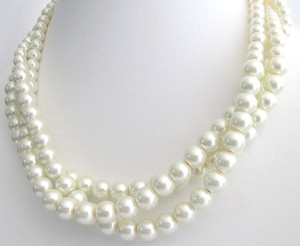 Pearl Statement Necklace Ivory Pearls Twisted Pearls Three Strand