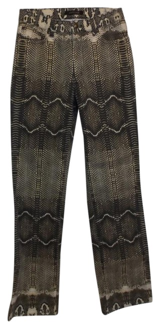 """Item - Brown Coated """"Snakeskin"""" Stretch Pants Boot Cut Jeans Size 26 (2, XS)"""