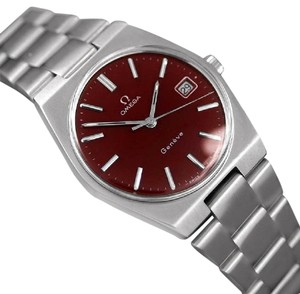 Omega 1972 Omega Geneve Vintage Mens Watch, Quick-Setting Date, Red Wine Dia