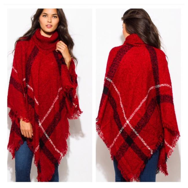 Multicolor Plaid Poncho/Cape Size OS (one size) 33% off retail