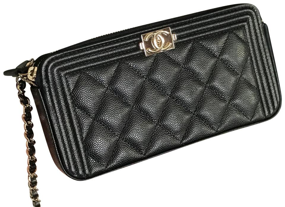 57d0d25c919f Chanel Wallet on Chain Boy Double Zip Woc Out Black Gold Hardware ...