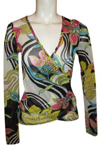 Karen Kane Mock Wrap Mesh Sheer Top multi