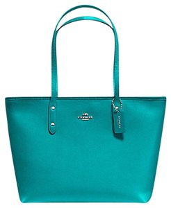 Coach 36875 Satchel 36876 Tote in SILVER/TURQUOISE