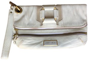 Jimmy Choo Leather Handbag Cream Clutch
