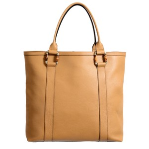 Gucci Leather Gold Hardware Tote in Tan