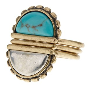 Lucky Brand Turquoise stone stacked triple ring