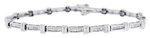 Other 1.26 Ct. Natural Baguette Diamond Tennis Link Bracelet Solid 14k White