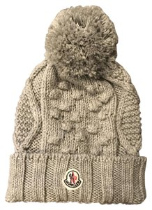Moncler moncler knit grey beanie with pom pom 2fe18b465be