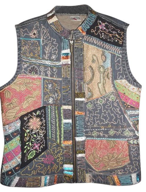Chico's Multicolor Beaded Embroidered Colored Zipper Vest Size 12 (L) Chico's Multicolor Beaded Embroidered Colored Zipper Vest Size 12 (L) Image 1