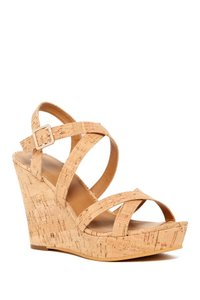 BP. Clothing Cork Platform Wedge Summer Tan Sandals