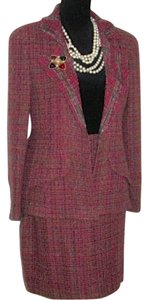 Chanel Multi Color Tweed Jacket Skirt Suit