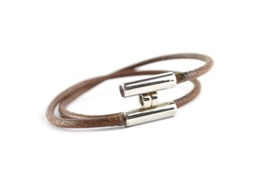 Hermès Silver/Brown Leather H Logo Double Wrap Bracelet France
