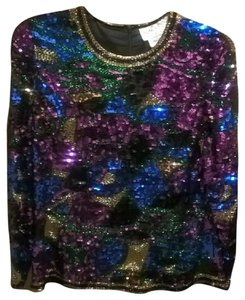 Oleg Cassini Vintage Sequin Art Deco Top Multi