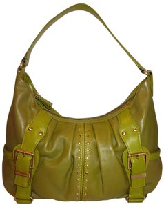 B. Makowsky Refurbished Green Leather Lined Large Hobo Bag