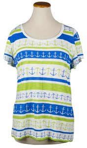 Banana Republic Anchor Ship Nautical Spring T Shirt White/Green/Blue