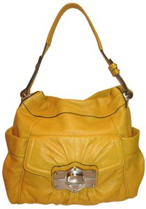 B. Makowsky Refurbished Large Leather Yellow Lined Hobo Bag