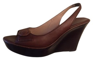 Cole Haan Leather Flower Brown Wedges