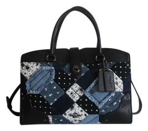 Coach Mercer 30 Canyon Quilt Satchel in Denim Skull Print / Dark Gunmetal